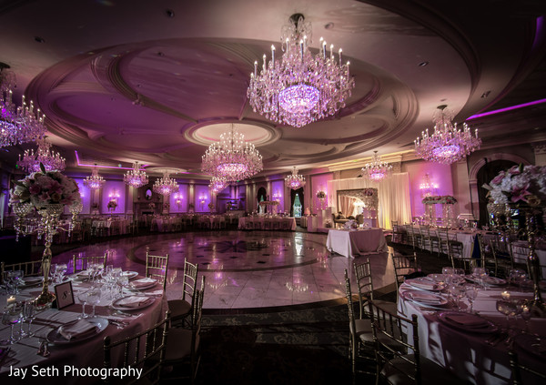 Lighting chandelier reception decor in Rockleigh NJ Indian Wedding by Jay Seth Photography