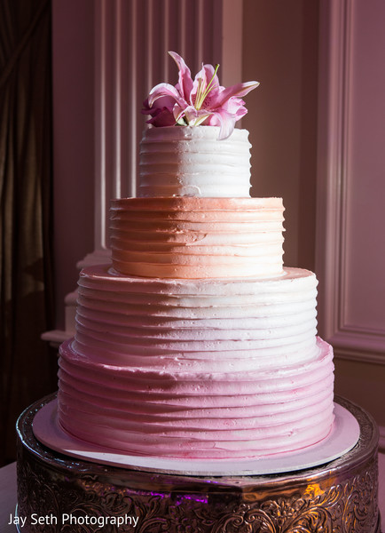 Ombre wedding cake in Rockleigh NJ Indian Wedding by Jay Seth Photography