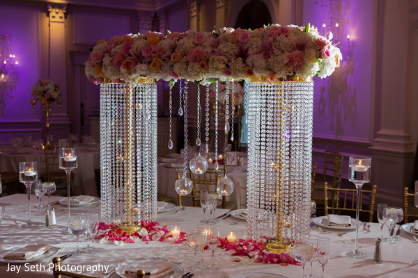 Reception floral and crystal centerpiece in Rockleigh NJ Indian Wedding by Jay Seth Photography