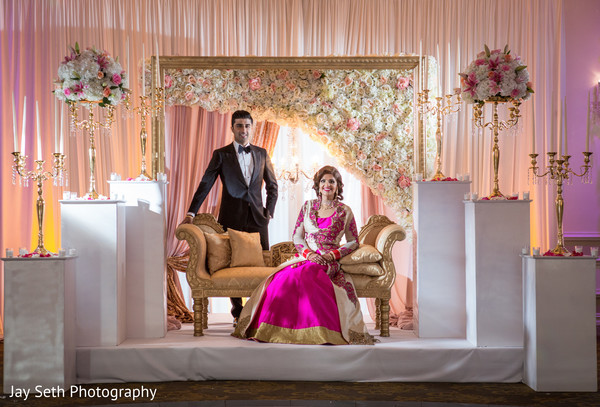 Floral sweetheart stage in Rockleigh NJ Indian Wedding by Jay Seth Photography