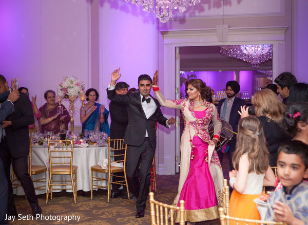 Entrance Bride and Groom in Rockleigh NJ Indian Wedding by Jay Seth Photography