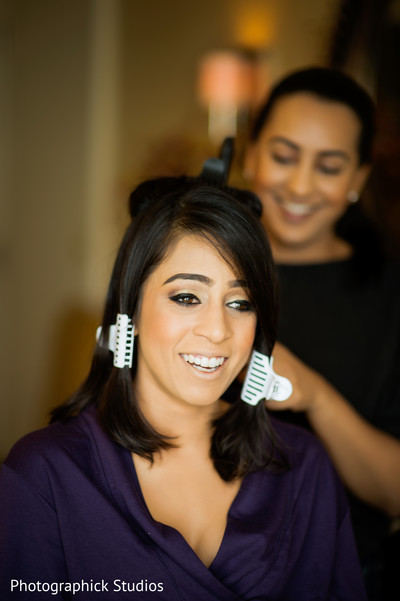 Indian bride getting ready in Baltimore, MD Indian Wedding by Photographick Studios