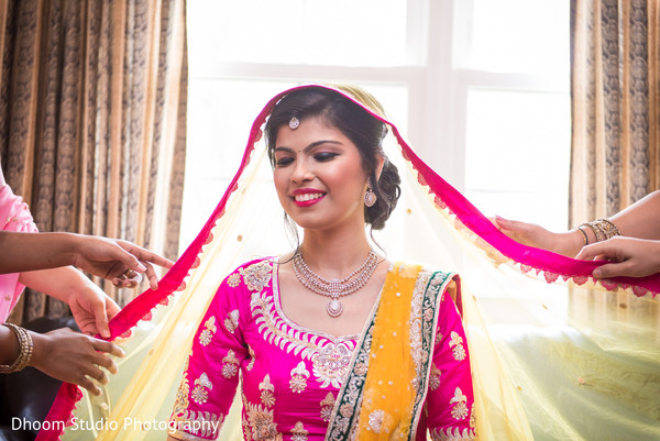 Getting ready chuni in Delaware, PA Indian Wedding by Dhoom Studio Photography