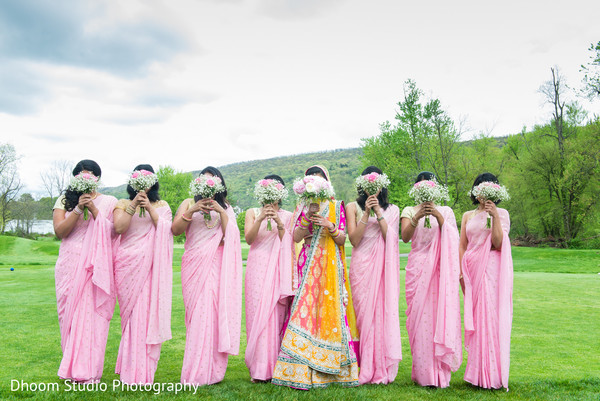 Bridal party bouquets in Delaware, PA Indian Wedding by Dhoom Studio Photography