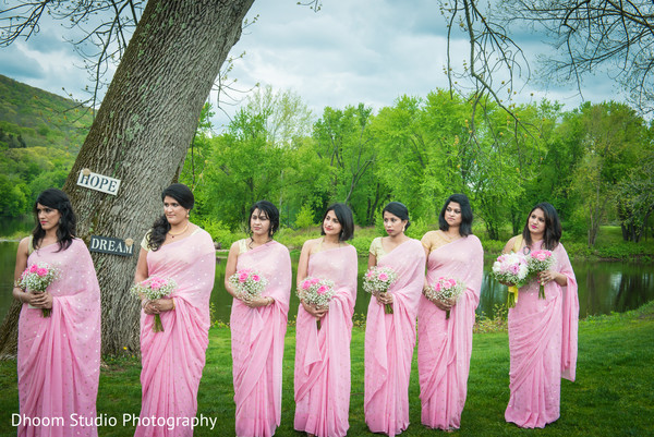 Bridesmaids bouquets in Delaware, PA Indian Wedding by Dhoom Studio Photography
