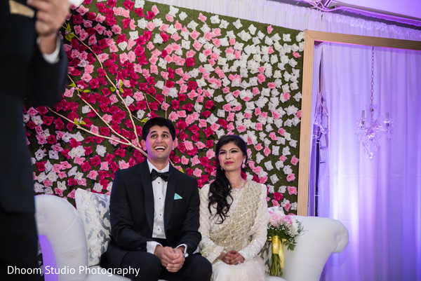 Ombre floral sweetheart stage in Delaware, PA Indian Wedding by Dhoom Studio Photography