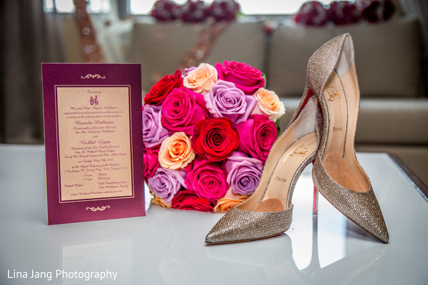 Christian louboutins in Jersey City, New Jersey Indian Wedding by Lina Jang Photography