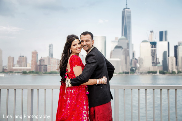 First look portraits in Jersey City, New Jersey Indian Wedding by Lina Jang Photography