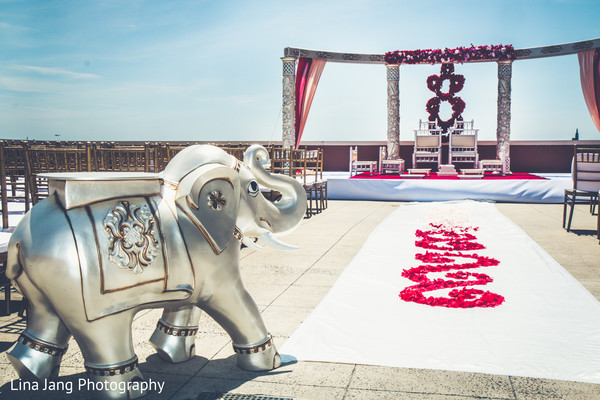 Outdoor mandap in Jersey City, New Jersey Indian Wedding by Lina Jang Photography