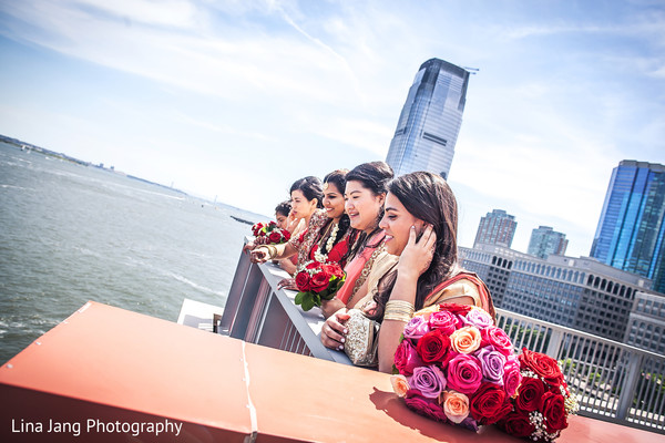 Bridesmaids in Jersey City, New Jersey Indian Wedding by Lina Jang Photography
