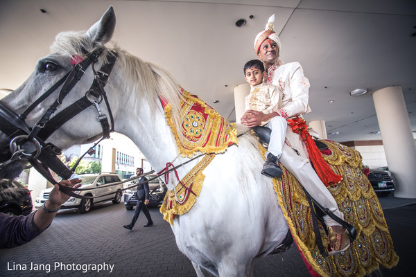 Horse for baraat in Jersey City, New Jersey Indian Wedding by Lina Jang Photography