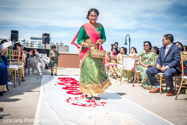 Bridesmaids fashions in Jersey City, New Jersey Indian Wedding by Lina Jang Photography