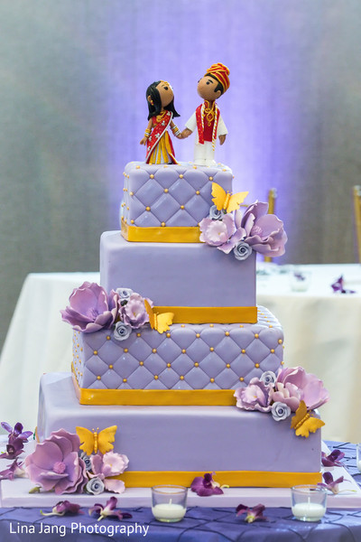 Purple wedding cake in Jersey City, New Jersey Indian Wedding by Lina Jang Photography