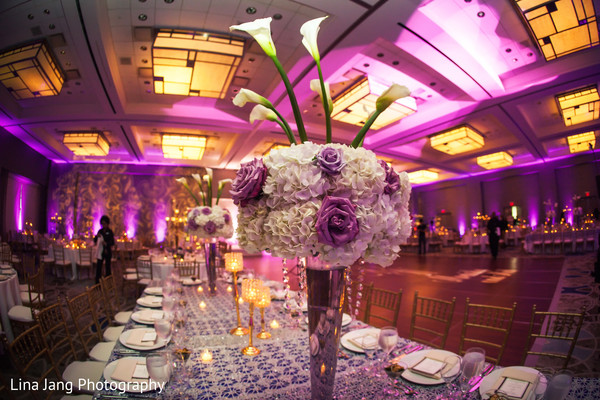 Centerpiece in Jersey City, New Jersey Indian Wedding by Lina Jang Photography
