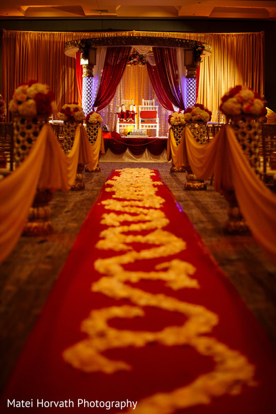 Aisle decor in San Jose, CA Indian Wedding by Matei Horvath Photography