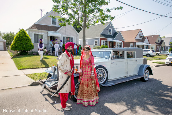 Bride and Groom with Antique Car in Mahwah, NJ Sikh Wedding by House of Talent Studio