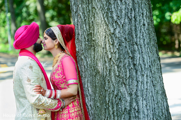 Bride and Groom Outdoors in Mahwah, NJ Sikh Wedding by House of Talent Studio