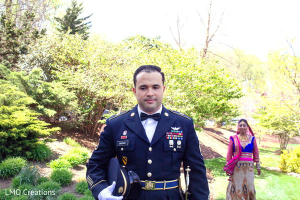 First look portraits in Falls Church, VA Fusion Wedding by LMO Creations