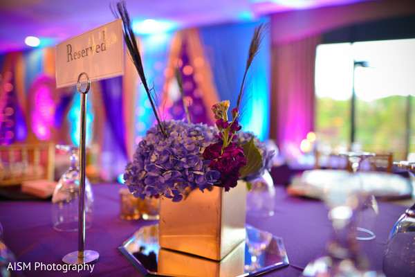 Wedding Reception Floral Centerpiece in Chantilly, VA Hindu & Sikh Wedding by AISM Photography