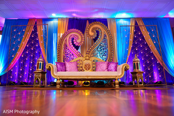 Henna Inspired Indian Reception Decoration in Chantilly, VA Hindu & Sikh Wedding by AISM Photography