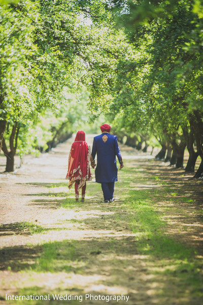 Bride and groom portraits in Livingston, CA Sikh Wedding by International Wedding Photography
