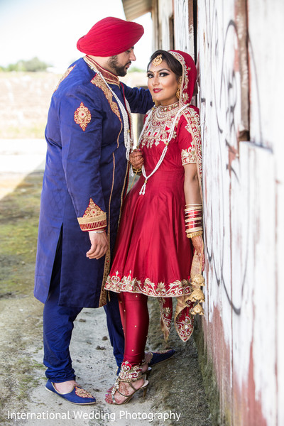 Sikh bride and groom portraits in Livingston, CA Sikh Wedding by International Wedding Photography