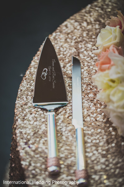 Cake cutting personalized knife in Livingston, CA Sikh Wedding by International Wedding Photography