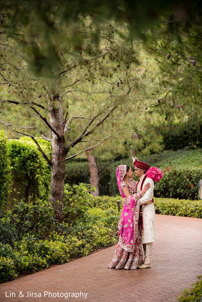 Bride and Groom Outdoor Portrait in Newport Coast, CA Indian Wedding by Lin & Jirsa Photography