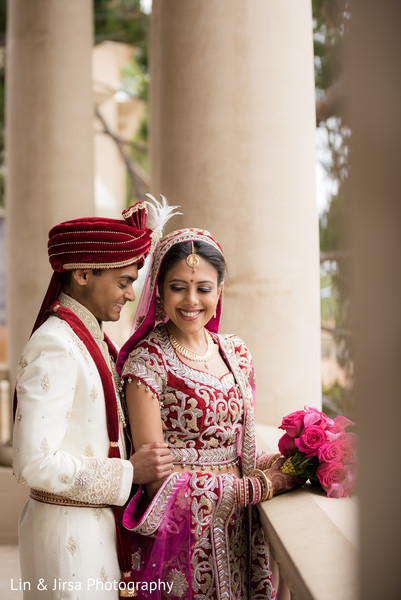 Bride and Groom Wedding Portrait in Newport Coast, CA Indian Wedding by Lin & Jirsa Photography
