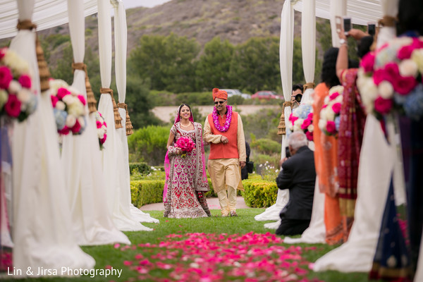 Indian Bride Entrance in Newport Coast, CA Indian Wedding by Lin & Jirsa Photography