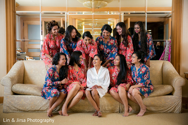 Bride and her Bridesmaids in Newport Coast, CA Indian Wedding by Lin & Jirsa Photography