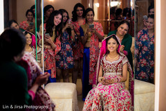 getting ready, Indian bride getting ready, bridal party, bridesmaids