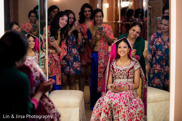 getting ready,indian bride getting ready,bridal party,bridesmaids