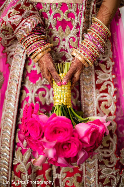 Bride with Flower Bouquet in Newport Coast, CA Indian Wedding by Lin & Jirsa Photography