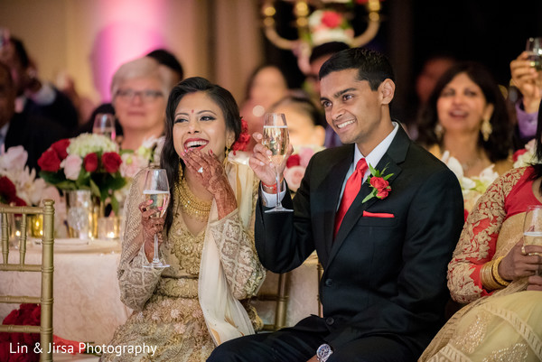 reception venue,indian reception venue,champagne toast,bride and groom champagne toast