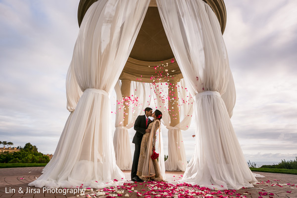 Outdoor Bride and Groom Portrait in Newport Coast, CA Indian Wedding by Lin & Jirsa Photography