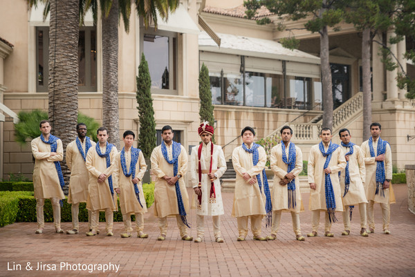 Groom and Groomsmen in Newport Coast, CA Indian Wedding by Lin & Jirsa Photography