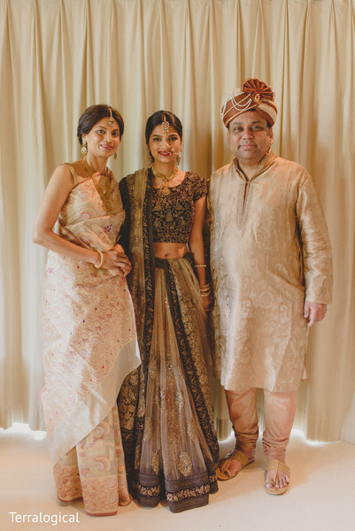 Bride with parents in Bali, Indonesia Destination Indian Wedding by Terralogical