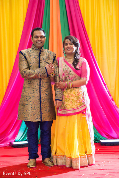 Indian Bride and groom portrait, Garba in Atlanta, GA Fusion by Events by SPL