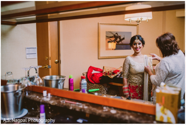 Indian bride getting ready in Cambridge, MD Indian Wedding by A.S. Nagpal Photography