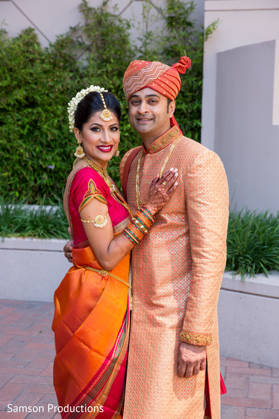 Bride and Groom Wedding Portrait in Long Beach, CA Indian Wedding by Samson Productions