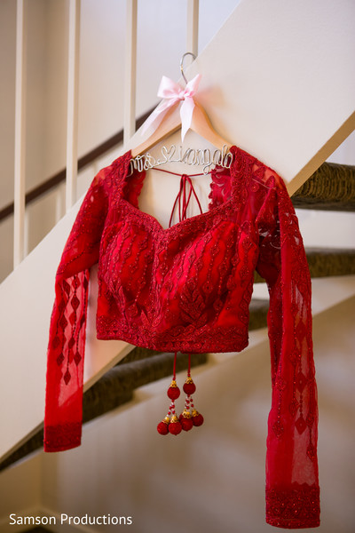 Red Lengha Blouse in Long Beach, CA Indian Wedding by Samson Productions