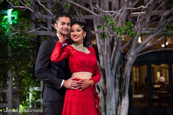 South Indian Bride and Groom Portrait in Long Beach, CA Indian Wedding by Samson Productions