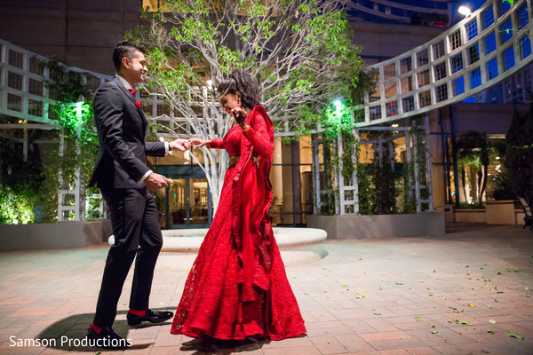 Bride and Groom Reception Portrait in Long Beach, CA Indian Wedding by Samson Productions