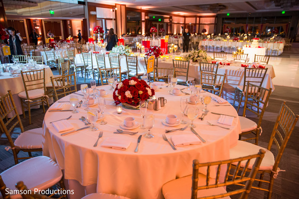 Wedding Reception Centerpiece in Long Beach, CA Indian Wedding by Samson Productions