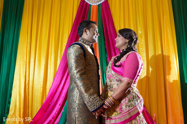 Bride and Groom first look at their Garba in Atlanta, GA Fusion by Events by SPL