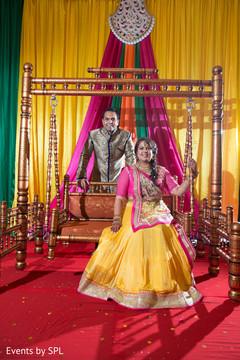 yellow sari,groom,garba jhula