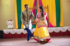 indian bride and groom,garba,yellow sari,dance