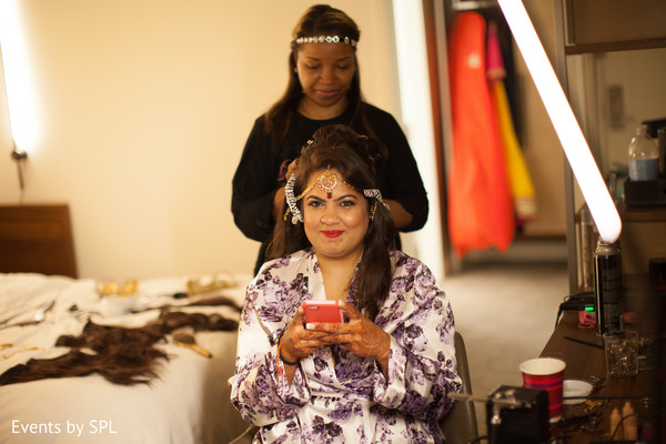 Beautiful Indian Bride getting ready in Atlanta, GA Fusion by Events by SPL