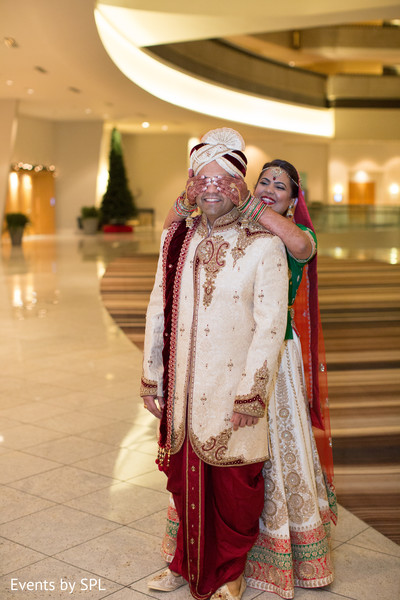 Indian bride and groom first look before the ceremony in Atlanta, GA Fusion by Events by SPL